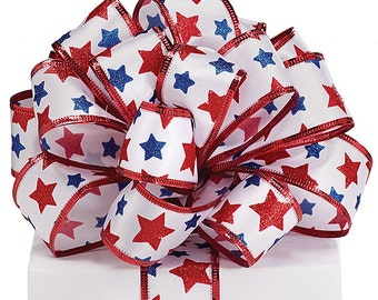 """By the yard~Wired Ribbon-1.5"""" Patriotic Red White Blue~Use for Wreaths~Wedding~Arrangement-Scrap-booking~Burton and Burton~Any Season ribbon"""