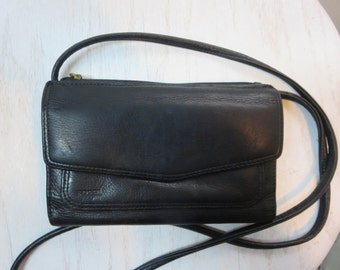 Vintage FOSSIL Wallet on a String - Fossil Black Leather Wallet - Fossil Small Cross body Bag