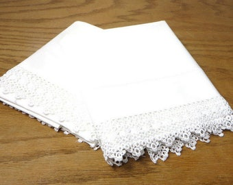 Vintage White Cotton Pillowcases with Tatting Farmhouse Bedroom Decor Cottage Chic
