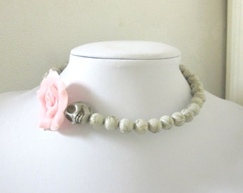 Day of the Dead Necklace Sugar Skull Choker Pale Gray Pink Rose Silver