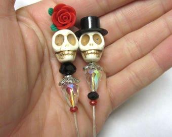 Sugar Skull Cake Topper Day of the Dead Caketopper Bride Groom Wedding Black White Red