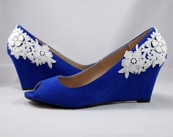 Royal blue wedges - wedding wedge shoes- cobalt blue wedges - blue suede shoes with lace
