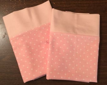 Light Pink and white polka dot Pillow Case  Set Standard/queen solid light pink cuff