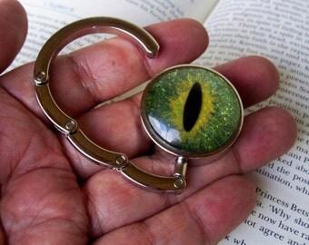 Dragon Eye Hanger (H607), Purse or Bag Hook, Hand Painted Glass Eye, Green Gold Sparkle