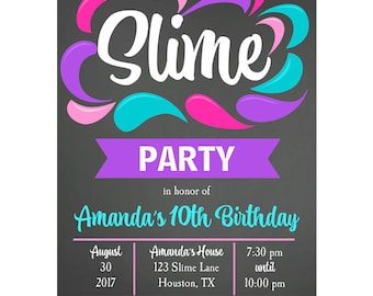 Slime Invitation Printable or Printed with FREE SHIPPING - Girl's Slime Party Collection