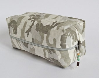 Camo Shaving Bag, Hiking Travel Toiletry Storage Case, Gift for Military Man, Camping Cosmetics Organizer Bag