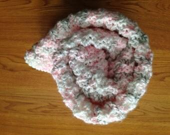 Hand Knit Gray Pink White Newborn Baby Toddler Blanket Baby Shower Grandchild