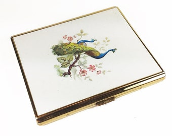 Vintage Cigarette Case with Peacocks, Colibri. Business Card Holder - Le Cas de Cigarettes.