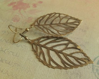 Skeleton Leaf Earrings - Large  Antiqued Bronze Filigree Leaf Charm, Gift for Her
