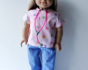 Valentine Scrubs for 18 Inch Dolls ~  Doctor, Nurse, Physician's Assistant, Dentist surgical scrubs