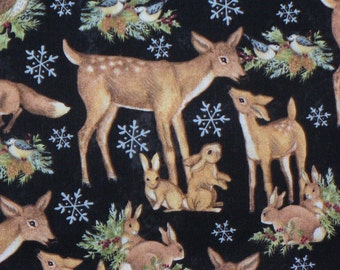 Christmas Fabric, Wooodland Creatures, Christmas Animals, Old World Animals, Deer, Foxes, Bunnies, Owls, By the Yard, Cotton Fabric