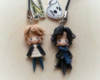 Sherlock Holmes and Watson (bbc series) cute little pendants made in fimo