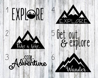 Explore Decals, mountain decals, seek adventure, take a hike decal, wander decals, hike decals, laptop decals, car decals, decal