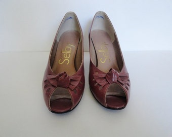 Vintage Selby Peep Toe Shoes| Selby Mauve Vintage Pumps| Size 6 Vintage shoes by Selby|Gently worn Vintage Women Shoes Kitten Heel Pumps