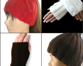 Ponytail Hat Cowl and Fingerless Gloves Set Unisex Digital PDF Pattern Convertible Hat Dreadlock Band Is not a Finish Product