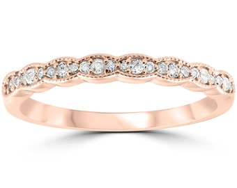 1/5 cttw Diamond Stackable Womens Wedding Ring 14k Rose Gold