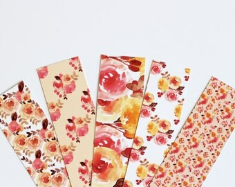 Watercolor Floral Printable Bookmark Set Digital Instant Download Handpainted Flowers