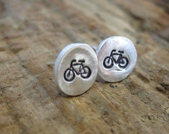 Bicycle Studs //Hand Stamped Fine Silver Stud Earrings// 8mm Fine Silver Earrings