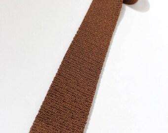 "vintage 1950's Men's knit neck tie. Silky, shiny Rayon - Cinnamon Brown. No labels...2 3/8"" Width."