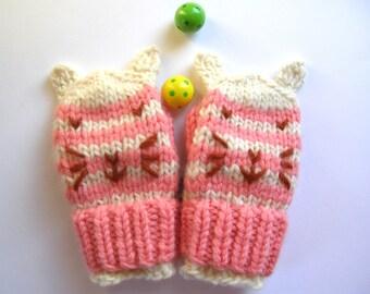 Kitten Mittens, Size 1 year old, Hand Knit Wool