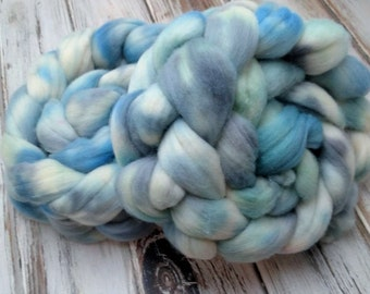 Chaotic Stormy Seas 4oz 21m Merino Wool Spinning Fiber Felting Combed Top Roving Blue Green Gray Grey