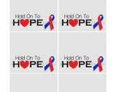 INSTANT DOWNLOAD - Printable Candy Bag Labels - Hold On To HOPE Red and Blue Ribbon - Congenital Heart Defect Awareness - Memorable Moments