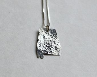 Alabama Necklace. State Outline I Heart Alabama Necklace. State of Alabama Girl Pendant with Heart. University of Alabama Forever Charm.