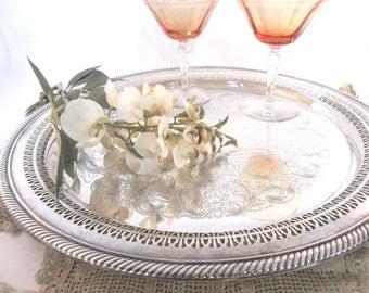 "Vintage Tray International Silver Plate Round 15"" Gallery Serving Wedding Decor"