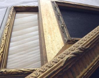 Vintage Set of Decorative French Antique 5x7 Frames in Gold Caramel Creme