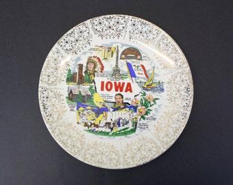 Vintage Iowa Plate w/Gold Scrolling (E2965)