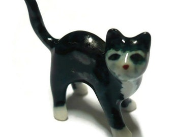 Tiny Black Cat Dollhouse Miniature Ceramic Animal Figurines HALLOWEEN SPOCKY