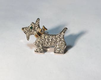 Tiny Vintage Sparkly Terrier Pin