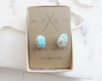 Raw Turquoise Earrings Mineral Specimen Studs Rough Cut Gemstone Jewelry