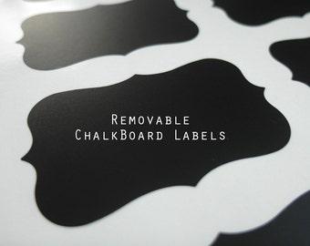"Chalkboard Labels - Chalkboard Decal - Fancy Labels - Mason Jar Labels, Removable, 3.5"" x 2"" , Set of 16"