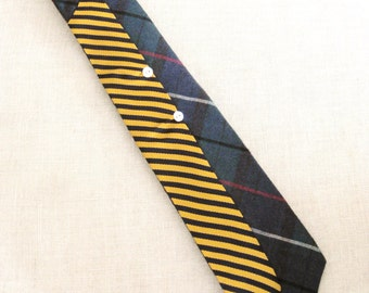 Vintage Ties, Striped, Plaid, Mens Ties, Hand Embroidered, Mens Accessories, Navy, Gold, Upcycled, Wil Shepherd,Mans Tie, Neck Wear, Preppy