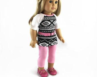 18 inch Doll Clothes, tunic, leggings, belt, designed to fit like American Girl® doll clothes