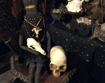 "Hoodoo Voodoo Conjure Doll with real Human Hair ""Boneyard Blanche"" at Gothic Rose Antiques"