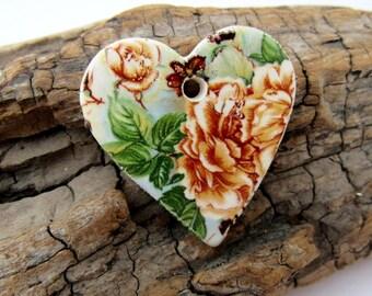 Brown Chrysanthemum Flower Ceramic Heart Pendant