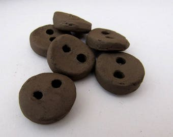 6 Small Round Black Earthenware Ceramic Buttons