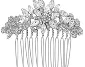 Floral hair comb, Bridal comb, bridal hair comb, silver hair comb, gift for her, christmas wedding, winter wedding theme, crystal headpiece