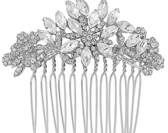 Floral hair comb, Bridal comb, bridal hair comb, silver hair comb, gift for her, christmas wedding, winter wedding theme, crystal headpiece