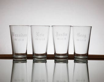 Etched beer glasses, Best man gift, Groomsman gift, beer glasses, sand blasted, engraved, bachelor party gifts, wedding party gift