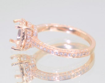 A setting gold ring, here in rose gold engagement ring, diamonds engagement ring SKU-Raelynn