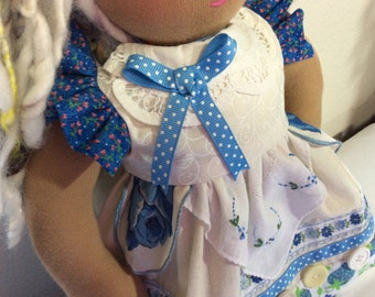 "ARTSY, shabby chic, vintage linens, old buttons,  16-18"" doll clothes, Waldorf, American Girl, 2 pc, ooak"