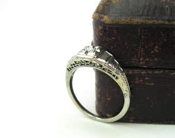 1920s Engagement Ring. 18K White Gold, Diamond Art Deco Ring. Filigree, Engraved. Stepped Geometric Design. Vintage Wedding Jewelry SZ 6.75