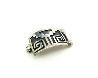 Aztec Mexican Bracelet Link. Sterling Silver Overlay. Black Oxidation. Jewelry Making Part. Vintage Supply .23 oz Reuse Repurpose, As Found