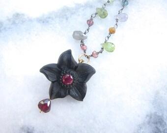 Antique Victorian Jewelry, Victorian Necklace, Gemstone Necklace, Two Girls Gems
