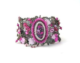 Women's bracelet boho bracelet beaded cuff bracelet pink grey beadweaving seed bead bracelet beaded jewelry Spring gift for her