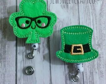 St Patrick's Day Badge Reel, Retractable Badge Reel, ID Badge Holder, Shamrock, Clover, Top Hat