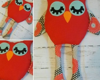 Ready to Ship,  Handmade Fabric Owl Doll,  Owl Softie Plushie, Birthday Gift, Girl's Room Decor, Nursery, Baby Shower, Pillow